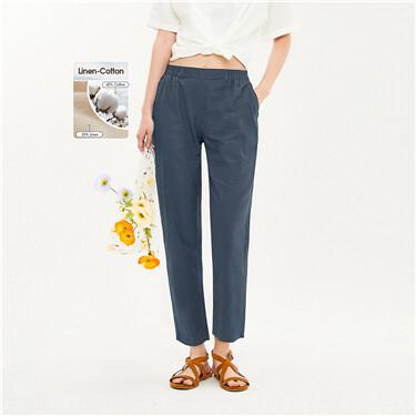 Elastic waistband ankle-length pants