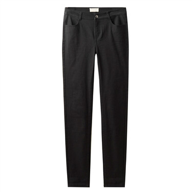 Solid mid rise casual pants