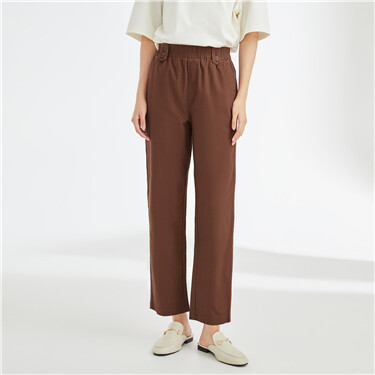 Stretchy solid color elastic waist pants