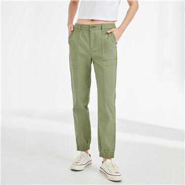 Forward seam high-rise banded cuffs pants