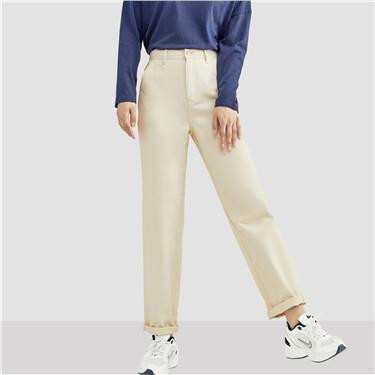 纯棉多口袋高腰牛仔长裤