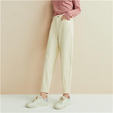 Pleated mid-rise denim pants