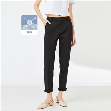 Stretchy high-waist solid color pants