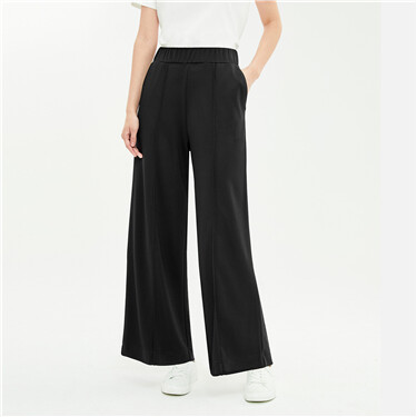 Modal worn elastic waistband wide-leg pants