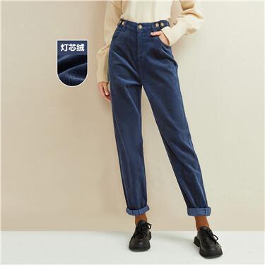 Corduroy elastic waistband pants