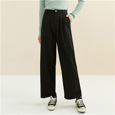 褶皱高腰阔腿休闲西装长裤