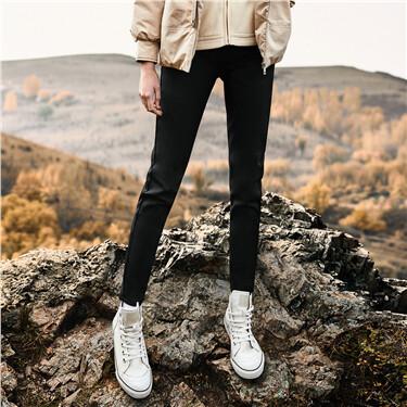 Fleece-lined slim pants