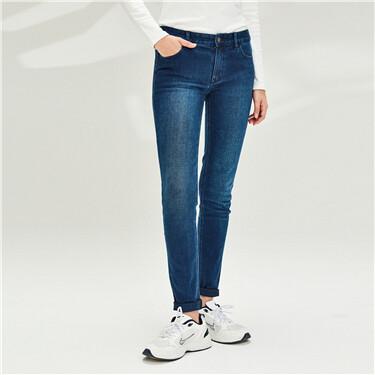 女裝厚身柔軟彈性修身中腰牛仔褲