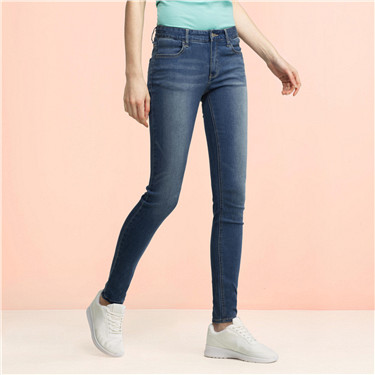 Whiskered mid rise skinny jeans (Women)