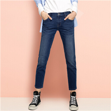 Moustache effect ankle-length jeans