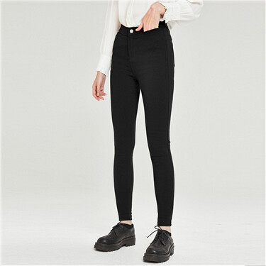 High rise fleece-lined slim casual pants