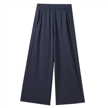 Elastic waistband knitted wide leg pants