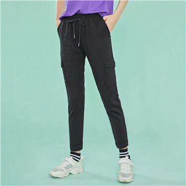Elastic waistband cargo casual pants