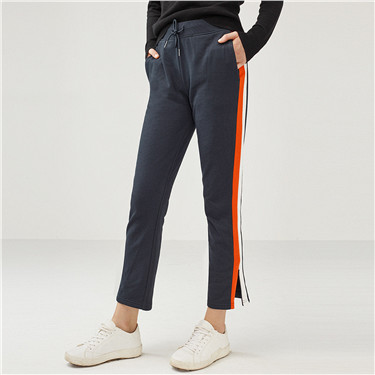 Contrast color drawstring casual pants