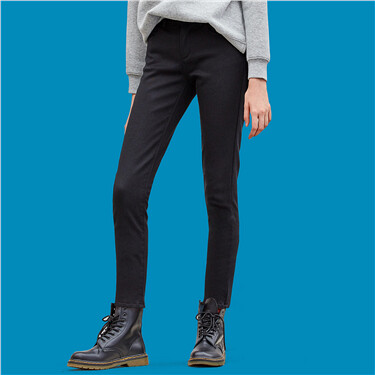 Stretchy fleeced slim casual pants