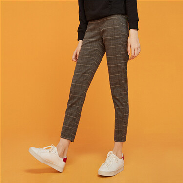 Slim elastic waistband mid rise pants