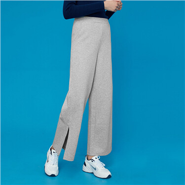 High-rise wide-leg knitted pants