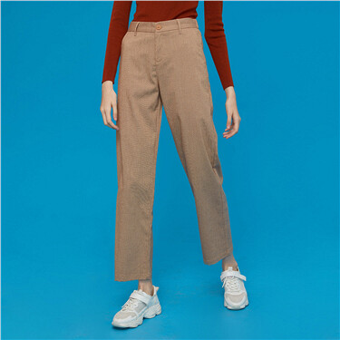 Elastic waistband high-rise pants