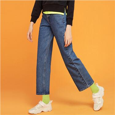 中腰阔腿直筒牛仔长裤