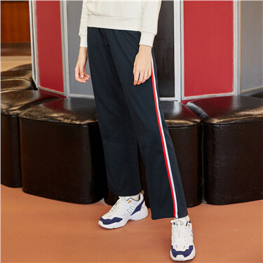 Contrast color wide-leg khakis casual pants