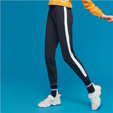 Elastic waistband contrast joggers pants