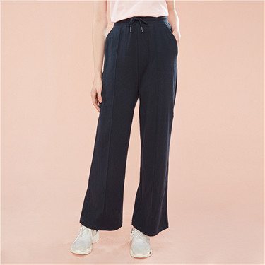 Stretchy drawstring wide-leg pants