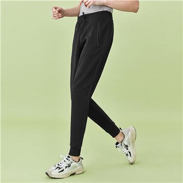 Zip slant pocket elastic waist joggers