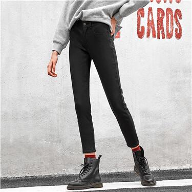 Fleece-lined stretchy slim pants
