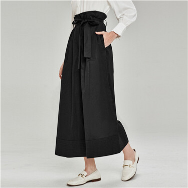 Bow wide-leg ankle-length pants