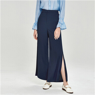 Side vents at hem lightweight ankle-length pants