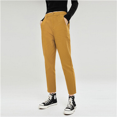 Half elastic waistband high-rise pants