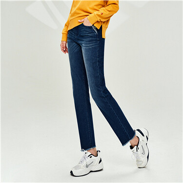Contrast Ankle-length Straight Jeans