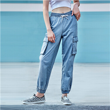 Elastic waistband with drawstring denim joggers