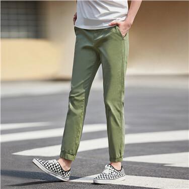 Half elastic waistband banded cuffs pants