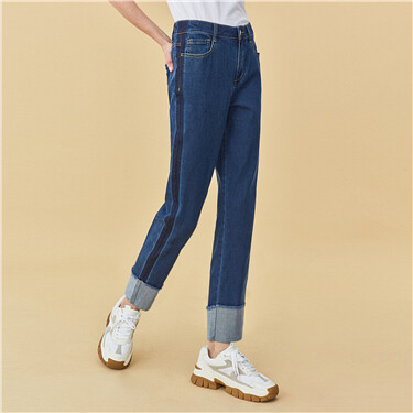 Roll-up cuffs ankle-length jeans