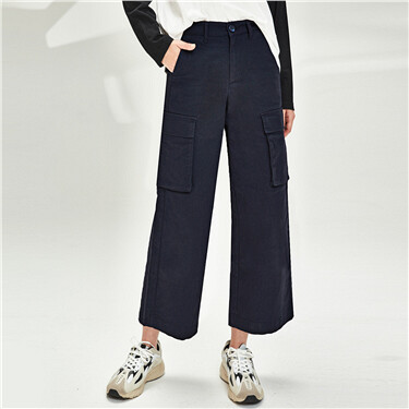 Big flap pockets cargo wide-leg pants