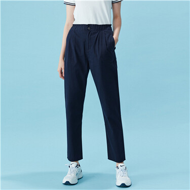 Bud waist straight ankle-length pants