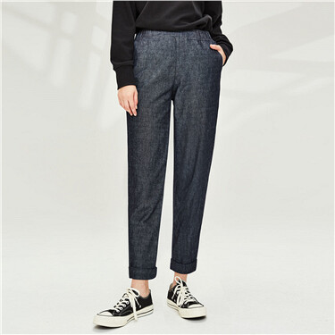 Elastic waistband lightweight ankle-length denim pants