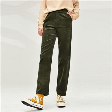 Corduroy straight cotton high-rise pants