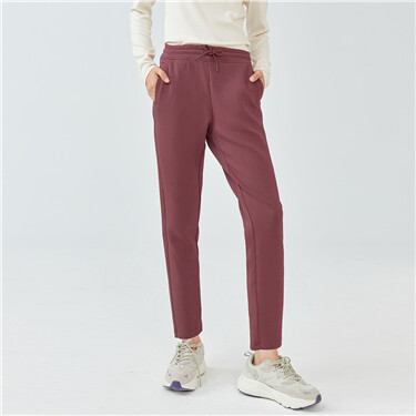 Solid color elastic waistband pants