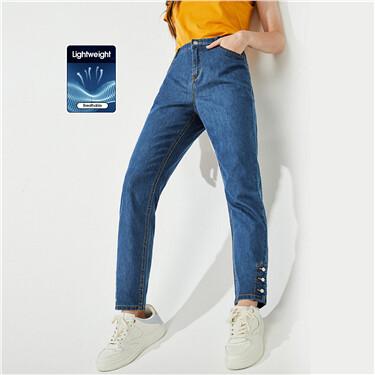 Button cuffs high-rise straight jeans