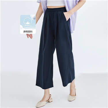 Linen-cotton elastic waistband pants