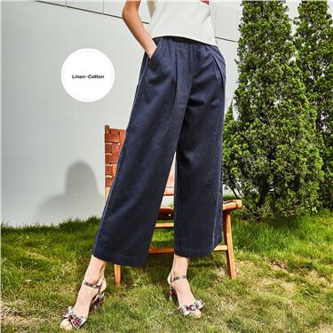 Linen-cotton elastic waistband pants
