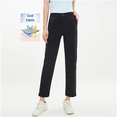 Roll-up cuffs high-rise lightweight pants