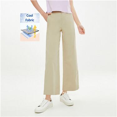 Half elastic waistband wide-leg pants