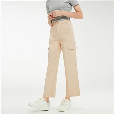 Stretchy elastic waistband cargo pants