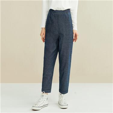 Elastic waistband ankle-length denim pants