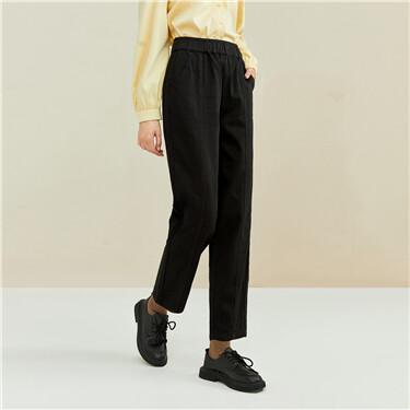Forward seam elastic waistband denim pants