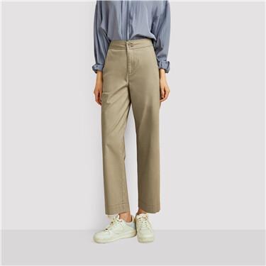 High-waist wide-leg ankle-length pants