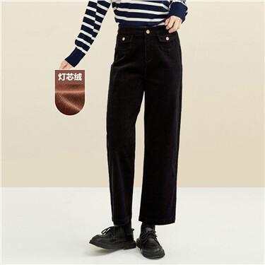 Corduroy wide-leg ankle-length pants